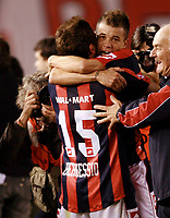 RIVER PLATE (2) Vs. SAN LORENZO de Almadro (2) for the soccer match in the Copa Libertadores at River Plate Stadium.<br /> Buenos Aires, Argentina May 8, 2008.<br /> SAN LORENZO players ANDRES D'ALESSANDRO and GONZALO BERGESSIO celebrating the classification in a (4-3 aggregate) after finish  the match<br /> © Gabriel Piko / PikoPress
