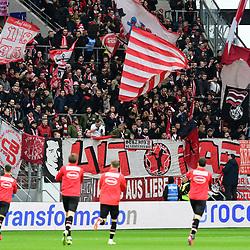 Duesseldorfer Fanblock  beim Spiel in der Fussball Bundesliga, 1. FSV Mainz 05 - Fortuna Düsseldorf.<br /> <br /> Foto © PIX-Sportfotos *** Foto ist honorarpflichtig! *** Auf Anfrage in hoeherer Qualitaet/Aufloesung. Belegexemplar erbeten. Veroeffentlichung ausschliesslich fuer journalistisch-publizistische Zwecke. For editorial use only. DFL regulations prohibit any use of photographs as image sequences and/or quasi-video.