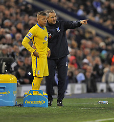 Crystal Palace caretaker manger keith millen chats with Crystal Palace's Dwight Gayle before he comes on the field.-Photo mandatory by-line: Alex James/JMP - Tel: Mobile: 07966 386802 02/11/2013 - SPORT - FOOTBALL - The Hawthorns - West Bromwich - West Bromwich Albion v Crystal Palace - Barclays Premier League
