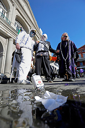 09 February 2016. New Orleans, Louisiana.<br /> Mardi Gras Day. Crisis in Jackson Square as a bottle of bourbon is dropped in the French Quarter.<br /> Photo©; Charlie Varley/varleypix.com