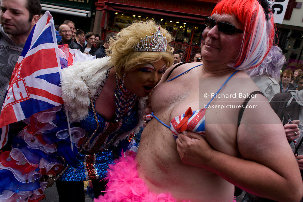 Soho celebrates the Queen's Diamond Jubilee weeks before the Olympics come to London. The UK  enjoys a weekend and summer of patriotic fervour as their monarch celebrates 60 years on the throne. Across Britain, flags and Union Jack bunting adorn towns and villages.