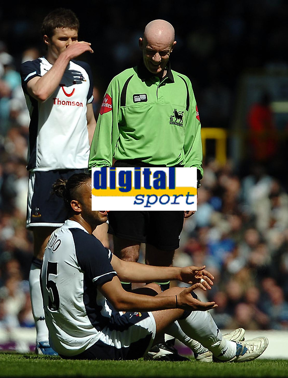 Photo: Ed Godden.<br />Tottenham Hotspur v Manchester City. The Barclays Premiership. 08/04/2006. Spurs' Mido stays on the ground after a foul.