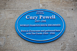 © London News Pictures. 07/01/2016 Cirencester, UK.  A plaque is unveiled in memory legendary rock drummer Cozy Powell.  Powell was born in Cirencester before going on to play in  major rock bands  - The Jeff Beck Group, Rainbow, Robert Plant, Whitesnake and Black Sabbath. Photo credit: Stephen Shepherd/LNP