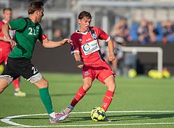 Mathias Christensen (FC Helsingør) afslutter under træningskampen mellem FC Helsingør og Næstved Boldklub den 19. august 2020 på Helsingør Stadion (Foto: Claus Birch).