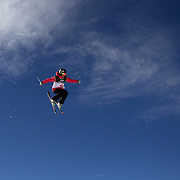 Jen Hudak, USA, in action during her second place finish in the Freeski Big Air competition at Cardrona, New Zealand during the Winter Games. Wanaka, New Zealand, 20th August 2011. Photo Tim Clayton