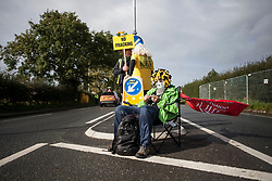 © Licensed to London News Pictures. 29/09/2017. Lancashire, UK.  A protester sat knitting outside Cuadrillas Hydraulic Fracturing site on Preston New Road, Lancashire. Over 100 protesters from all over the UK joined the on going anti-fracking protest on Preston New Road in Lancashire ahead of the Conservative Party Conference in Manchester. Photo credit: Steven Speed/LNP