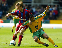 Photo. Chris Ratcliffe, Digitalsport<br /> Crystal Palace v Norwich City. Barclays Premiership. 16/04/2005<br /> Joonas Kolkka of Palace battles with Youssef Safri of Norwich