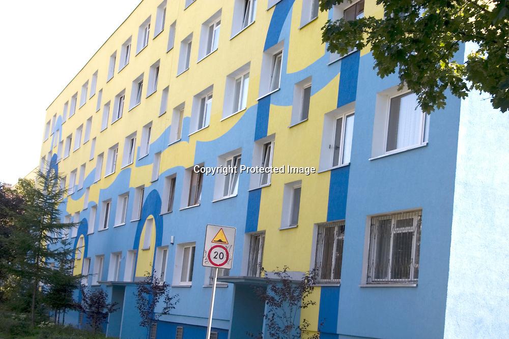 High-rise precast concrete flats built during the Communist era Panel√°k Blok Wielka p yta. Balucki District Lodz Central Poland