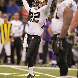 2008 October, 06: New Orleans Saints cornerback Tracy Porter (22) tries to pump up the crowd during a week five regular season game between the Minnesota Vikings and the New Orleans Saints for Monday Night Football at the Louisiana Superdome in New Orleans, LA.