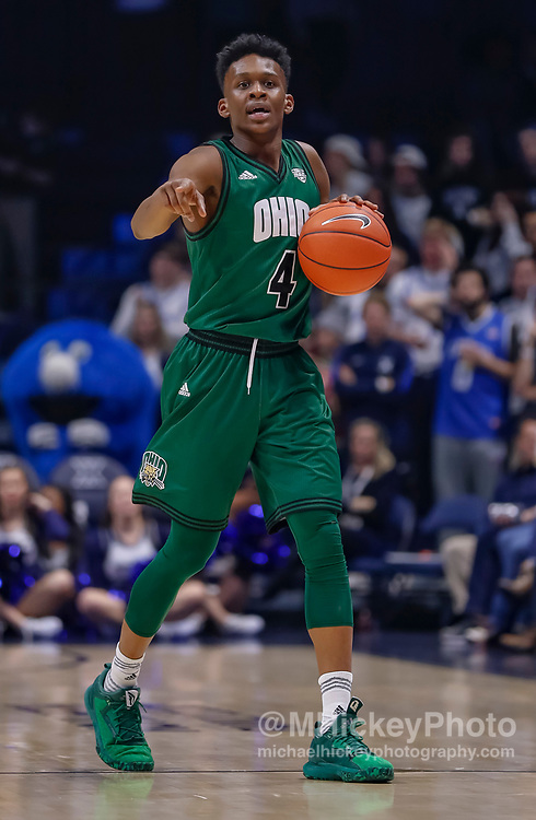 CINCINNATI, OH - DECEMBER 05: Teyvion Kirk #4 of the Ohio Bobcats brings the ball up court during the game against the Xavier Musketeers at Cintas Center on December 5, 2018 in Cincinnati, Ohio. (Photo by Michael Hickey/Getty Images) *** Local Caption *** Teyvion Kirk
