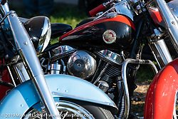 Old Harley-Davidsons at the Spirit of Sturgis races at the fairgrounds during the Sturgis Black Hills Motorcycle Rally. Sturgis, SD, USA. Monday, August 5, 2019. Photography ©2019 Michael Lichter.