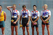Eton Dorney, Windsor, Great Britain,..2012 London Olympic Regatta, Dorney Lake. Eton Rowing Centre, Berkshire[ Rowing]... 2012 London Olympic Regatta, Dorney Lake. Eton Rowing Centre, Berkshire.  Dorney Lake.  .GBR M4- Gold Medalist Men's Four, Crew, Bow, Alex GREGORY, Peter REED, Tom JAMES and Andy TRIGGS HODGE. 12:07:51   Saturday  04/08/2012..[Mandatory Credit: Peter Spurrier/Intersport Images].