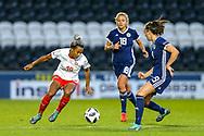 Eseosa Aigbogun (#19) of Switzerland takes on Caroline Weir (#9) of Scotland during the 2019 FIFA Women's World Cup UEFA Qualifier match between Scotland Women and Switzerland at the Simple Digital Arena, St Mirren, Scotland on 30 August 2018.