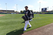 GLENDALE, ARIZONA - FEBRUARY 23:  Yonder Alonso #17 of the Chicago White Sox looks on prior to the game against the Los Angeles Dodgers on February 23, 2019 at Camelback Ranch in Glendale Arizona.  (Photo by Ron Vesely)  Subject:  Yonder Alonso