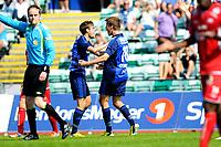 Fotball , Adeccoligaen , 1. Divisjon menn ,  Fredag 6. juli 2013 , Nadderud Stadion ,<br /> Stabæk - Vard Haugesund<br /> Mads Stokkelien jubler for 1-1 med Timmi Johansen<br /> Foto: Sjur Stølen