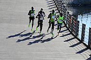 The Elite group of male runners in Action during the Cardiff Half Marathon 2016 in Cardiff, South Wales on Sunday 2nd October 2016. this years event had a record of almost 22,000 entries, a mixture of fun runners, elite athletes and club runners.<br /> pic by Andrew Orchard, Andrew Orchard sports photography.