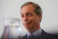 © Licensed to London News Pictures. 07/05/2019. London, UK. Nigel Farage, Leader of Brexit Party at the press conference for the European election campaign in Westminster. Photo credit: Dinendra Haria/LNP