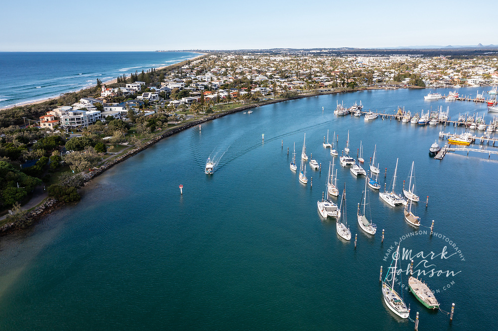 Aerial view of boats on the Mooloolah River, Mooloolaba, Sunshine Coast, Queensland, Australia