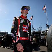 Racecar driver Kurt Busch is seen walking to the garage ares during the  56th Annual NASCAR Daytona 500 practice session at Daytona International Speedway on Wednesday, February 19, 2014 in Daytona Beach, Florida.  (AP Photo/Alex Menendez)