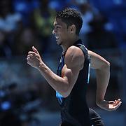 Wayde Van Niekerk, South Africa, winning the Men's 400m event  during the Diamond League Adidas Grand Prix at Icahn Stadium, Randall's Island, Manhattan, New York, USA. 13th June 2015. Photo Tim Clayton