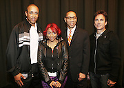 l to r: John Starks, Cherri Dennis, Deputy Mayor Dennis Walcott and David Strumeier at the South Pole Fashion show during ' The Stay in School Concert ' facilated by Entertainers for Education held at The Manhattan Center on October 28, 2008 in New York City