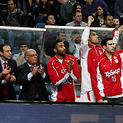Olympiacos's players during their Turkish Airlines Euroleague Basketball Top 16 Group E Game 4 match Anadolu Efes between Olympiacos at Sinan Erdem Arena in Istanbul, Turkey, Wednesday, February 08, 2012. Photo by TURKPIX