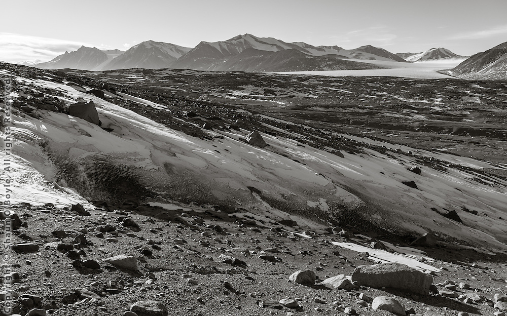View up Taylor Valley, Commonwealth Glacier can be seen on upper right