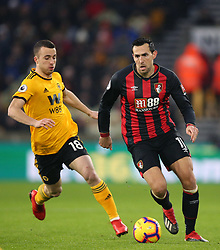 Wolverhampton Wanderers' Diogo Jota (left) and AFC Bournemouth's Charlie Daniels battle for the ball