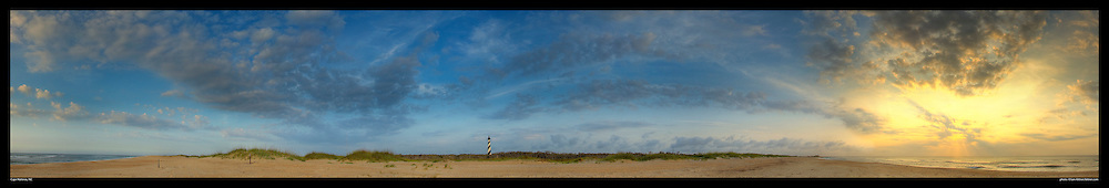 Panoramic photograph of sunrise at Cape Hatteras Lighthouse, Buxton, NC  Print Size (in inches): 15x2.5; 24x4; 36x6; 48x8; 60x10; 72x12