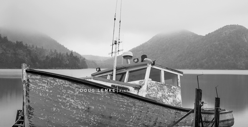 An Old Lobster Boat, Beached And Waiting For A New Coat Of Paint, Acadia National Park, Maine, USA, Photo Composite