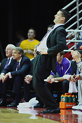 29 December 2011:  Ben Jacobson reacts to a missed shot by the Panthers during an NCAA mens basketball game between the Northern Illinois Panthers and the Illinois State Redbirds in Redbird Arena, Normal IL