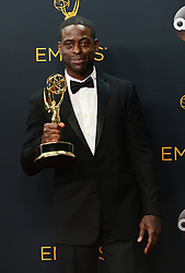September 18, 2016 - Los Angeles, California, United States - Sterling K. Brown  won the Emmy award for Outstanding Supporting Actor in a Limited Series or Movie, poses backstage at the 68th Annual Emmy Awards at the Microsoft Theater in Los Angeles, California on Sunday, September 18, 2016. (Credit Image: © Michael Owen Baker/Los Angeles Daily News via ZUMA Wire)