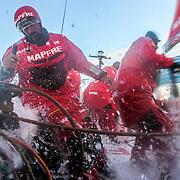 Leg 3, Cape Town to Melbourne, day 12, Willy Altadill on board MAPFRE. Photo by Jen Edney/Volvo Ocean Race. 21 December, 2017.