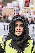 One of the stewards - A march against racism and to ban the ban (against immigration from certain countries to the USA) is organised by Stand Up To Racism and supported by Stop the War and several unions. It stated with a rally at the US Embassy in grosvenor Square and ended up in Whitehall outside Downing Street. Thousands of people of all races and ages attended.