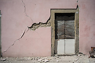 A house in Accumoli, in this village the bell tower collapsed falling in to a house killing 2