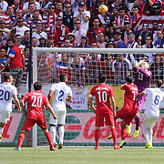 Brad Guzan, USA, punches clear during the US Men's National Team Vs Turkey friendly match at Red Bull Arena.  The game was part of the USA teams three-game send-off series in preparation for the 2014 FIFA World Cup in Brazil. Red Bull Arena, Harrison, New Jersey. USA. 1st June 2014. Photo Tim Clayton