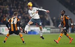 Manchester United's Matteo Darmian (centre) heads the ball during the EFL Cup Semi Final, Second Leg match at the KCOM Stadium, Hull.