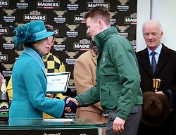 The Princess Royal during a presentation after the Magners Cheltenham Gold Cup Chase during Gold Cup Day of the 2019 Cheltenham Festival at Cheltenham Racecourse.
