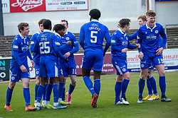06MAR21 Queen of the South's Adedapo Awokoya-Mebude celebrates after scoring their third goal. Arbroath 2 v 4 Queen of the South, Scottish Championship played 6/3/2021 at Arbroath's home ground, Gayfield Park.