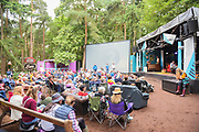 Henham Park, Suffolk, 20 July 2019. The Dermot O'Leary show for BBC Radio 2 is broadcast from the BBC Introducing stage in the woods. The 2019 Latitude Festival.
