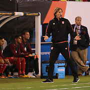 EAST RUTHERFORD, NEW JERSEY - JUNE 17: Peru Manager Ricardo Gareca on the sideline during the Colombia Vs Peru Quarterfinal match of the Copa America Centenario USA 2016 Tournament at MetLife Stadium on June 17, 2016 in East Rutherford, New Jersey. (Photo by Tim Clayton/Corbis via Getty Images)