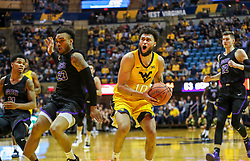 Mar 20, 2019; Morgantown, WV, USA; West Virginia Mountaineers guard Jermaine Haley (10) drives down the lane during the second half against the Grand Canyon Antelopes at WVU Coliseum. Mandatory Credit: Ben Queen