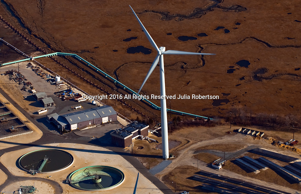 Aerial view of Jersey-Atlantic Wind Farm at the Wastewater Treatment Plant in Atlantic City, NJ