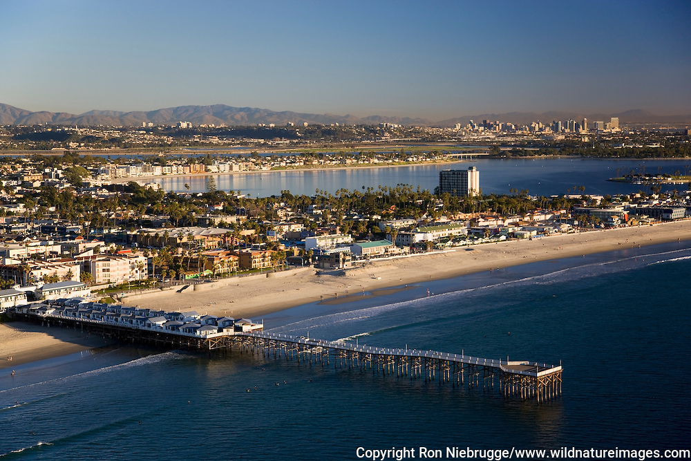 Crystal Pier at Pacific Beach and Mission Bay, San Diego, California.