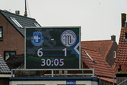 Scoreboaard 6-1 result. First friendly match after the Corona outbreak. VV Maarssen lost the away match against big league Spakenburg 5-1 on 4 July 2020 in Spakenburg.