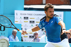June 20, 2018 - London, United Kingdom - Stan Wawrinka (SUI) in action.during Fever-Tree Championships 2nd Round match between Stan Wawrinka (SUI) against Sam Querrey (USA) at The Queen's Club, London, on 19 June 2018  (Credit Image: © Kieran Galvin/NurPhoto via ZUMA Press)