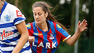Grace Beegan closing down the play during the Pre-Season Friendly match between Crystal Palace LFC and Queens Park Rangers Ladies at the The Stadium, Bromley, United Kingdom on 19 July 2015. Photo by Michael Hulf.