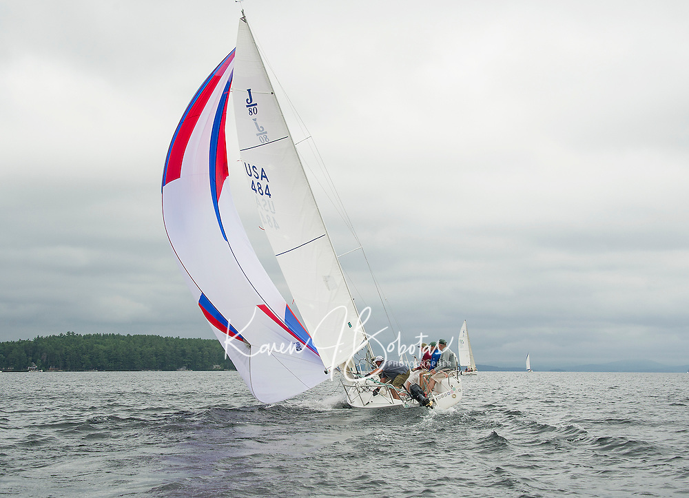 The crew on Jolly Mon , Larry Routhier, Jack Donohue and Ed Philpot set sail out of Saunders Bay from Winnipesaukee Yacht Club for the JBT Race for the Cure on Saturday morning. (Karen Bobotas/for the Laconia Daily Sun)