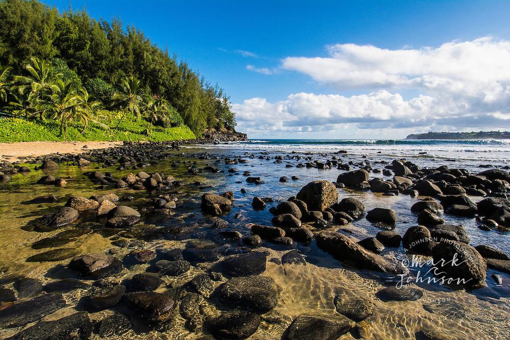 The beach at Wai Cocos, Hanalei Bay, Kauai, Hawaii, USA