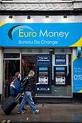 Euro Money Bureau de Change kiosk and cash point ATM machines. London.
